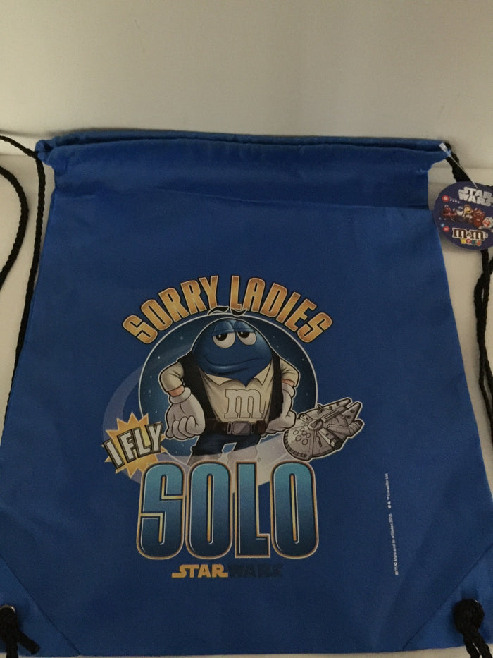 M&M's World Blue Star Wars Han Solo Nylon Drawstring Backpack New Sealed