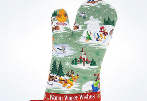 Disney Parks Storybook Mickey & Friends Holiday Oven Mitt New with Tags