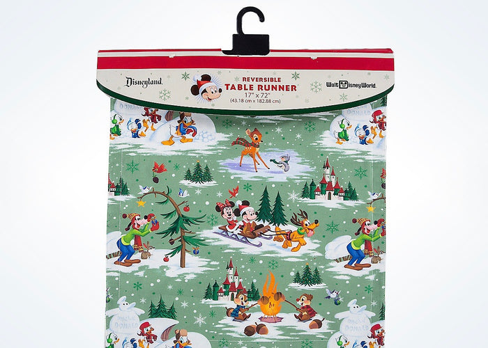 Disney Parks Mickey & Friends Storybook Reversible Holiday Table Runner New