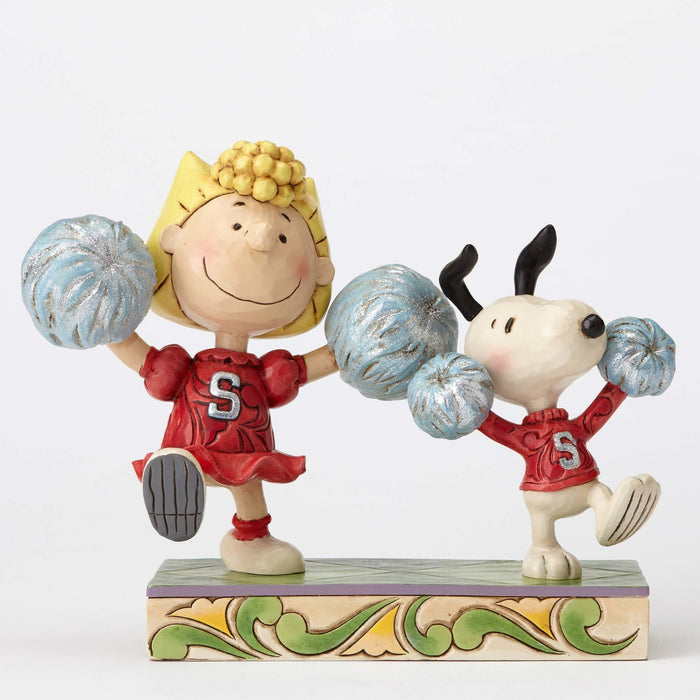 Peanuts Cheerleading Snoopy and Sally Jim Shore Resin Figurine New with Box