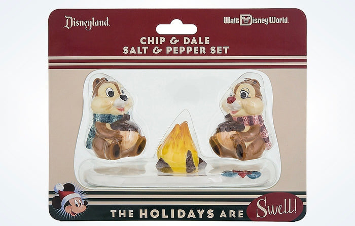 Disney Parks Holiday Retro Christmas Chip & Dale Salt & Pepper New with Card