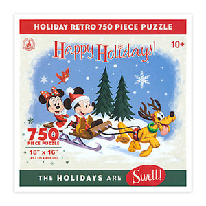 Disney PArks Santa Mickey & Friends Happy Holidays Retro Jigsaw Puzzle New Box