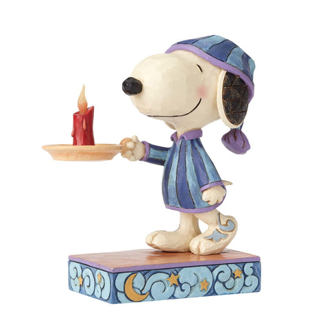 Jim Shore Peanuts Snoopy Nightime with Candle Resin Figurine New with Box