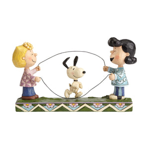 Jim Shore Peanuts Sally Lucy Snoopy Jump Rope Resin Figurine New with Box