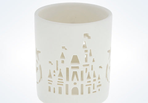 Disney Parks White Ceramic Cinderella Castle Votive Candle Holder New