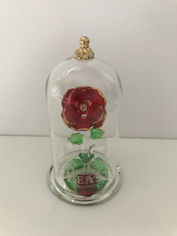 Disney Beauty and the Beast Enchanted Rose Glass Sculpture by Arribas Medium