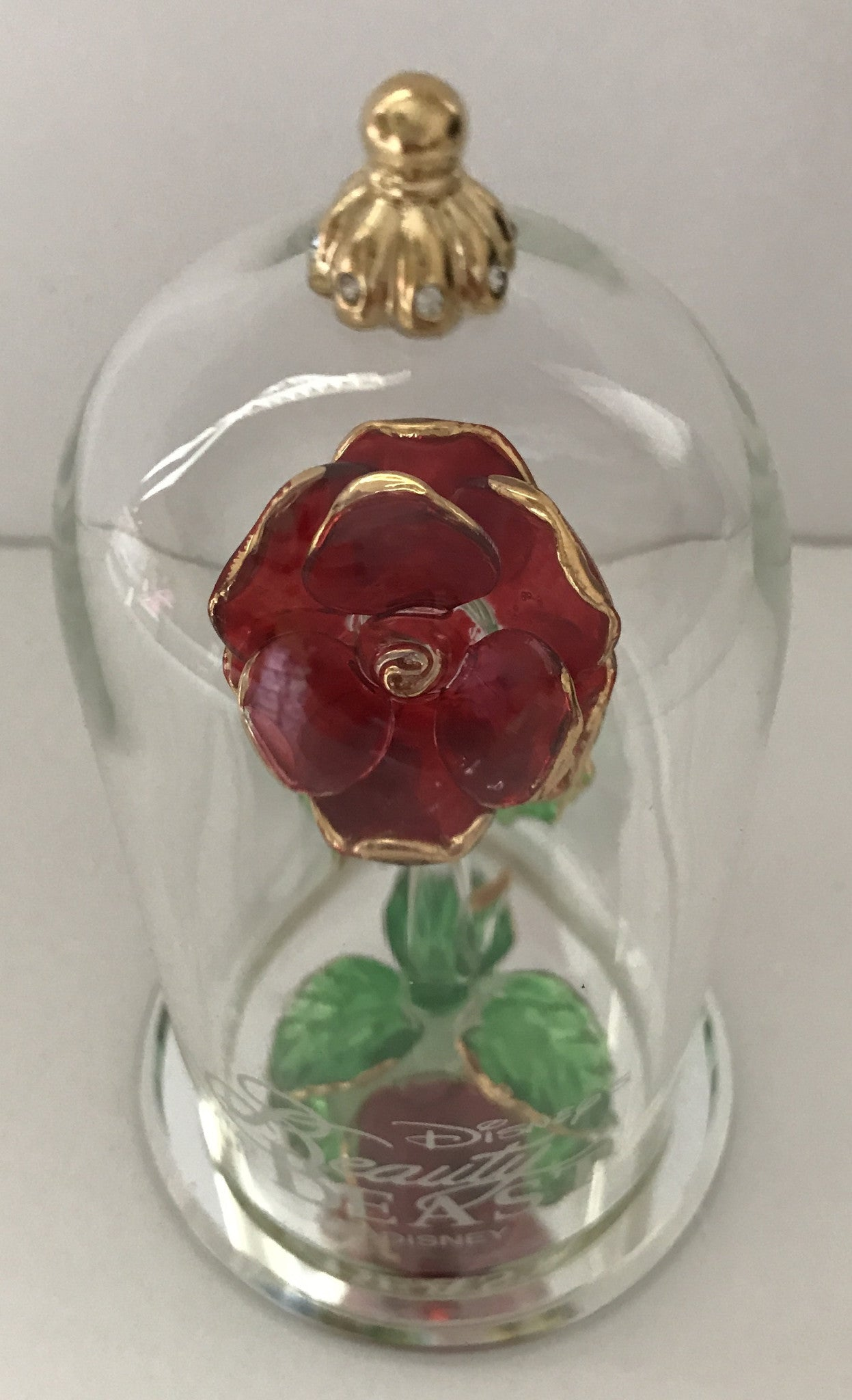 Disney Beauty And The Beast Enchanted Rose Glass Sculpture By