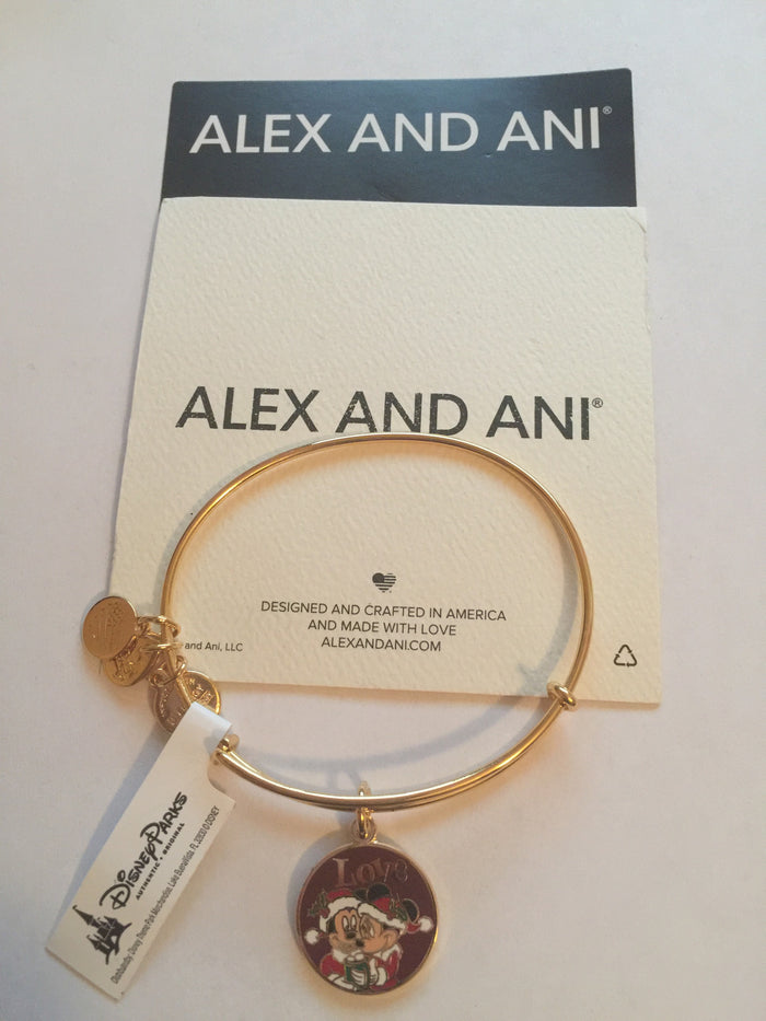 Disney Alex and Ani Parks Mickey Minnie Love Holiday Bangle Bracelet Gold New Tags