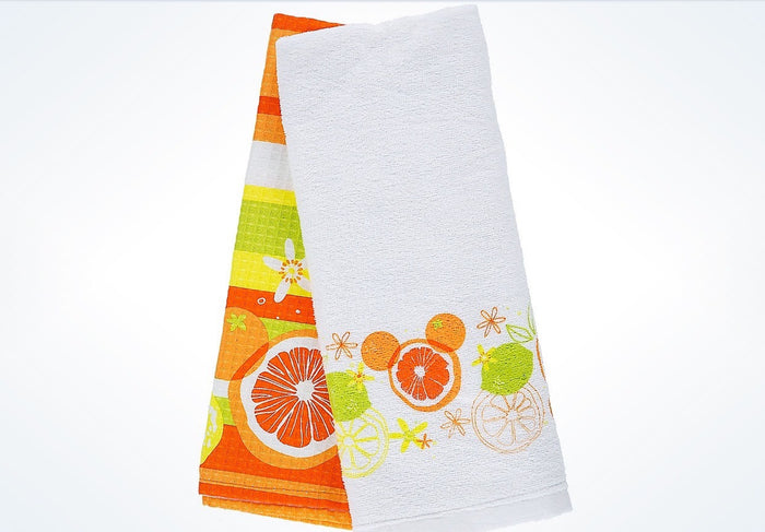 Disney Parks Mickey Mouse Icon Citrus Cotton Dish Towels Set New with Tags