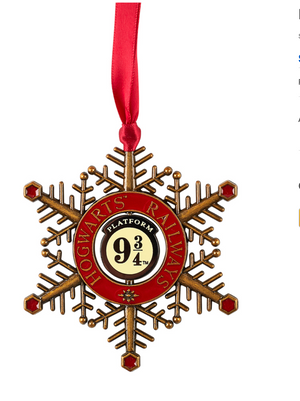 Universal Studios Harry Potter Platform 9 3/4 Snowflake Spinner Ornament New