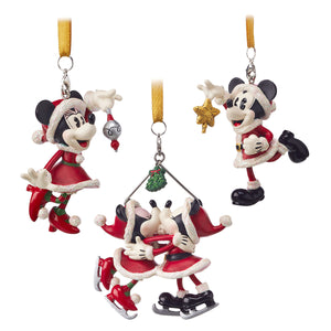 Disney Parks Turn of the Century Holiday Santa Mickey Minnie Ornament Set New