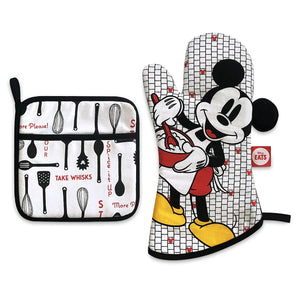 Disney Eats Mickey Mouse Pot Holder and Oven Mitt Set New with Tag