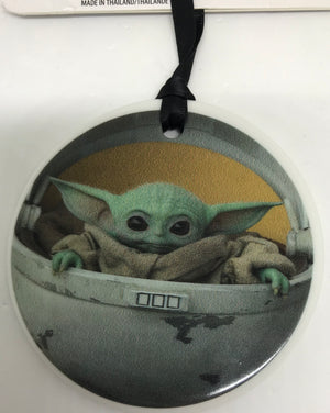 Disney Star Wars Mandalorian The Child Yoda Disc Christmas Ornament New with Tag