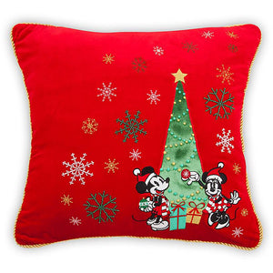Disney Store Mickey and Minnie Mouse Holiday Throw Pillow New with Tags