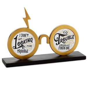 Hallmark Harry Potter Trouble Finds Me Eyeglasses Quote Resin Sign New