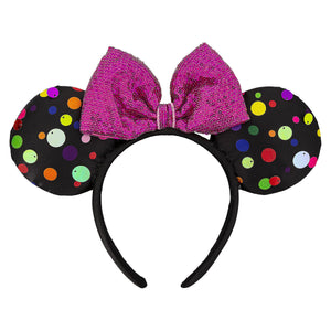Disney Parks Minnie Mouse Multi Color Polka Dot Ear Headband New with Tags