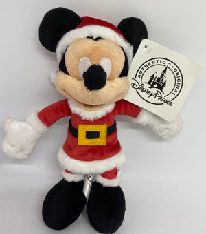 "Disney Parks Mickey Mouse 7"" Santa Plush New with Tag"
