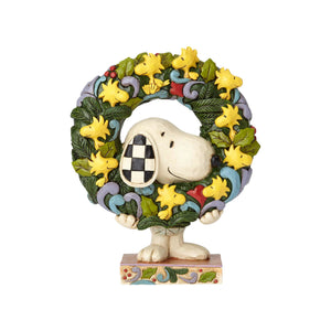 Jim Shore Peanuts Christmas Snoopy Woodstock Wreath Resin Figurine New with Box