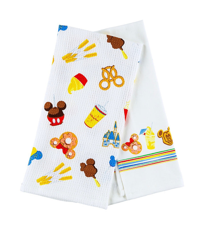 Disney Parks Food Icons Dish Kitchen Towel Set of 2 New With Tags
