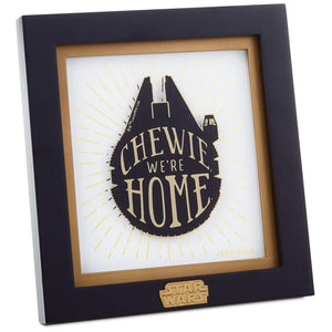 Hallmark Star Wars Chewie We're Home Millennium Falcon Framed Print New