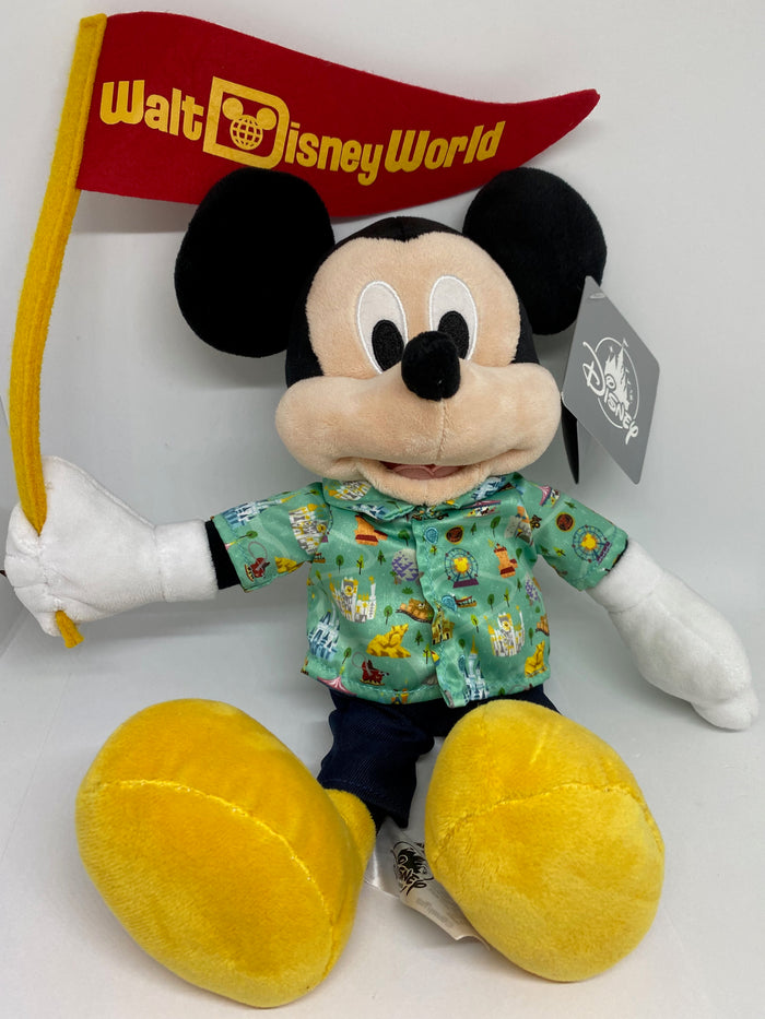 Disney Parks Life Mickey Mouse with Flag Plush New with Tag