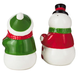 Hallmark Nostalgic Christmas Snowman Couple Salt and Pepper Shakers Set of 2 New