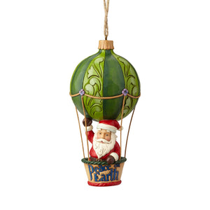 Jim Shore Santa in a Hot Air Balloon Christmas Ornament New with Box
