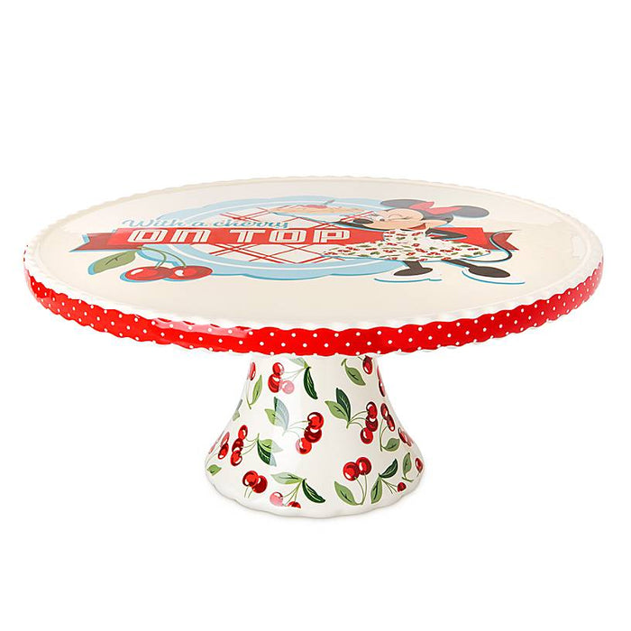 Disney Parks Back in the Day Minnie Retro Ceramic Cake Stand New