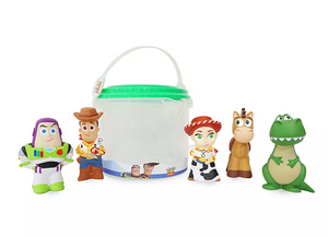 Disney Store Toy Story Woody Buzz Jessie Bullseye Rex Bucket Bath Toy Set New