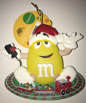 M&M's World Christmas Ornament Yellow Santa Train New with Tag