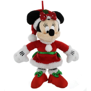 disney parks christmas ornament santa minnie mouse plush new with tag