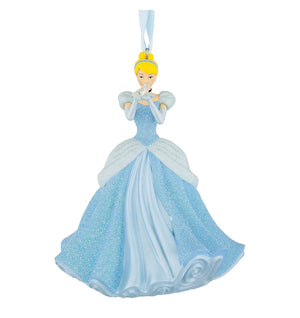 Disney Parks Cinderella with Slipper 3D Glitter Christmas Ornament New with Tags