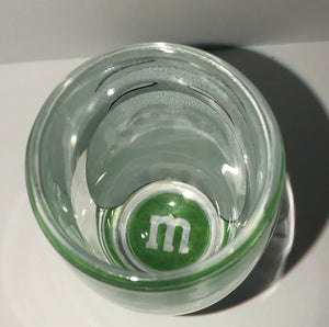 M&M's World Green Big Face Clear Shot Glass New