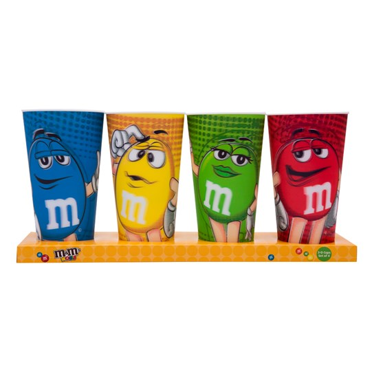 M&M's World Characters Lenticular 24oz Cup Set of 4 New with Box