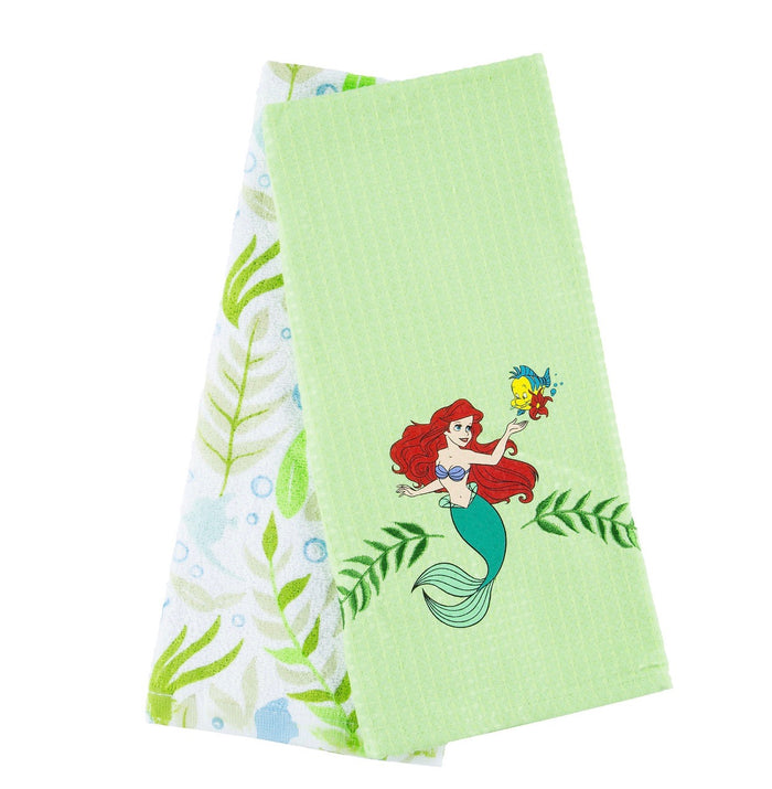 Disney Parks Ariel & Flounder Cotton Dish Towels Set New with Tags