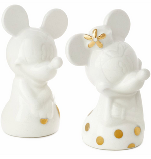 Hallmark Valentine Disney Mickey Minnie White Gold Salt and Pepper Shakers New