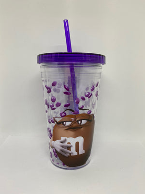 M&M's World Brown Big Face Lentils Tumbler with Straw New