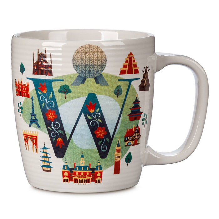Disney Parks ABC Letters W is for Epcot World Showcase Ceramic Coffee Mug New