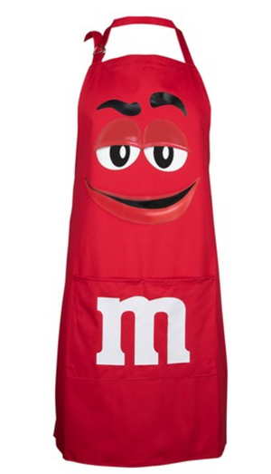 M&M's World Red Chracter Apron and chef Hat Set Adult Size New with Tag