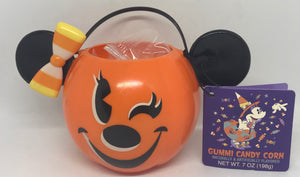 Disney Parks Happy Halloween Minnie Candy Corn with Pumpkin Bowl New with Tag