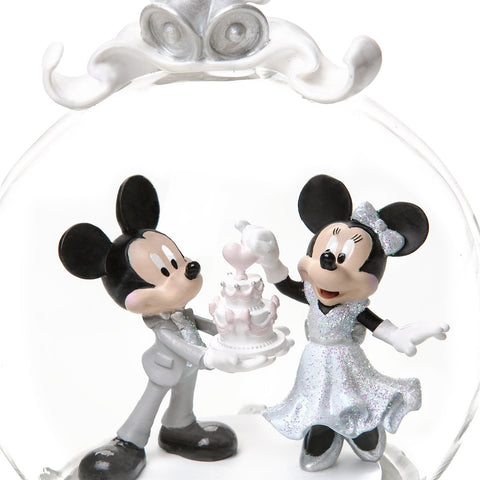 Mickey and Minnie Mouse Wedding Globe Christmas Ornament New