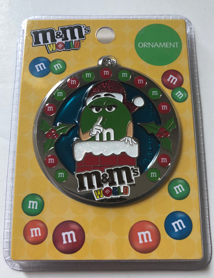 M&M's World Santa Green Christmas Round Metal Ornament New with Card