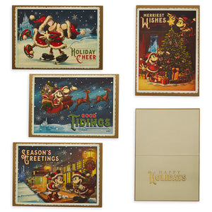 Disney Parks Turn Century Santa Mickey Minnie Holiday Cheer Greeting Cards New