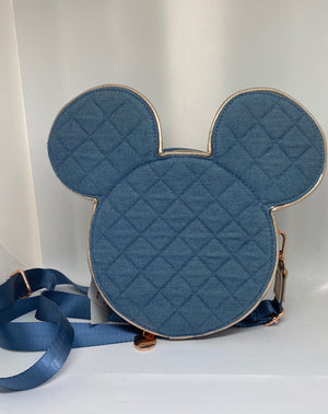Disney Parks Mickey Mouse Icon Gold Pin Trading Crossbody New with Tag