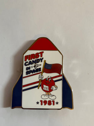 M&M's World Red Character First Candy in Space 1981 Rocket Metal Magnet New