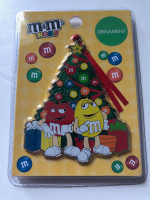 M&M's World Yellow and Red Christmas Tree Metal Ornament New with Card