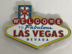 M&M's World Welcome to Fabulous Las Vegas Sign Metal Lentil Magnet New
