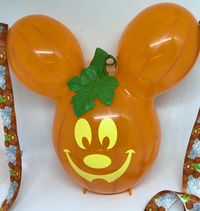 Disney Parks Halloween Mickey Pumpkin Popcorn Bucket with Lanyard New