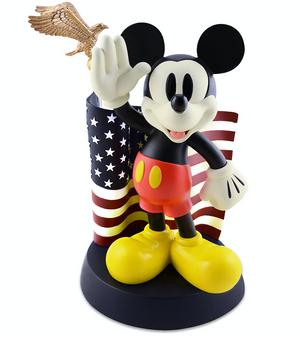 Disney Medium Figure Statue Mickey Mouse Flag Salutes Figurine New With Box