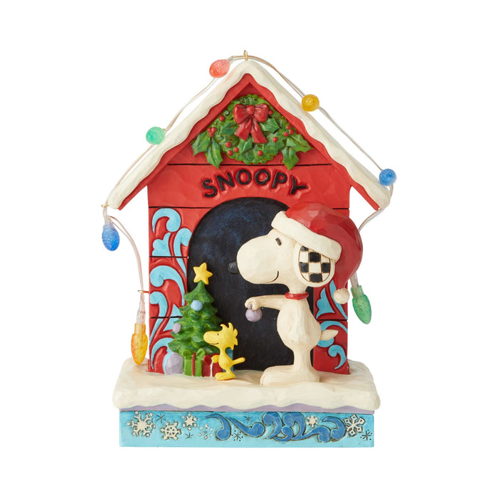 Jim Shore Peanuts Snoopy by Dog House Christmas Figurine New with Box